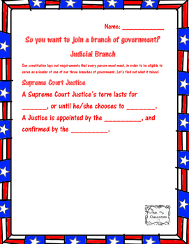 Branches of Government - Requirements to be President, Senator, etc