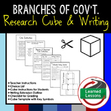 Branches of Government Activity Research Cube with Writing