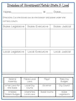 Branches of Government Resource Pack-National, State, and Local!