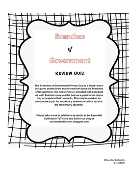 Branches of Government - Review Quiz