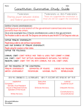 Branches of Government - Review Quiz & Constitution Summative Study Guide