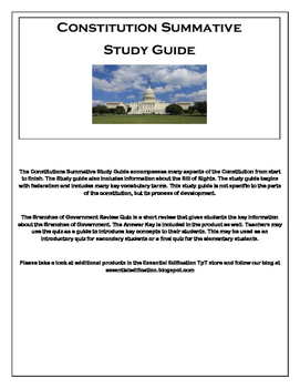 Branches of Government - Review Quiz & Constitution Summat