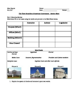 Branches of Government Review sheet