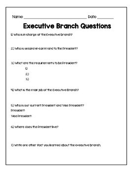 Branches of Government Summaries & Quiz