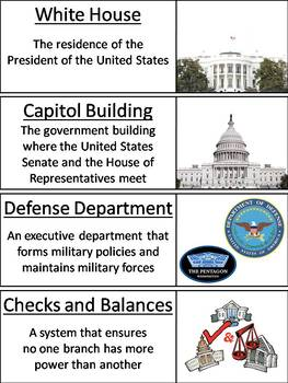 Branches of Government Word Wall Cards