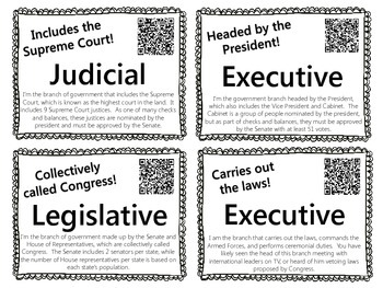 Branches of Government Word Wall with QR Codes