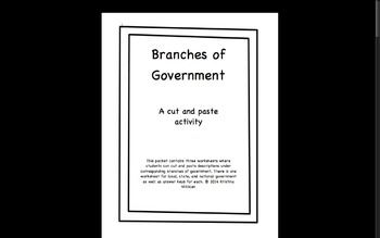 Branches of Government Worksheets