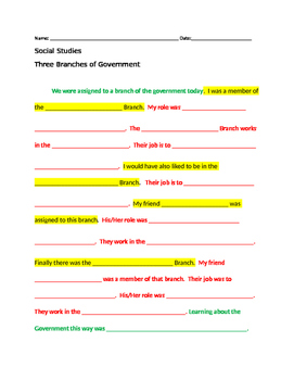 Branches of Government Writing Activity