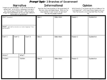 Branches of Government Writing FREEBIE