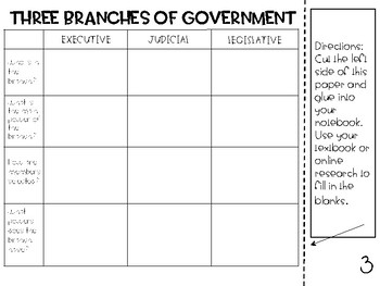 Branches of Government for Interactive Notebooks