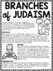 Branches of Judaism Reading Comprehension Worksheet Jewish Denominations