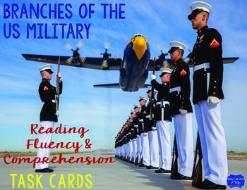Branches of Military Reading Fluency and Comprehension Task Cards