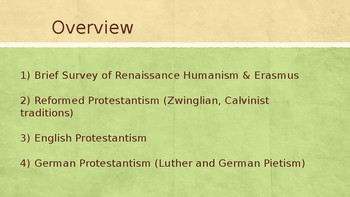 Branches of Protestantism in the 16th & 17th Centuries