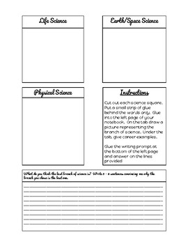 Branches of Science Interactive Notebook Page