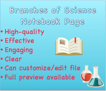Branches of Science Notebook Page