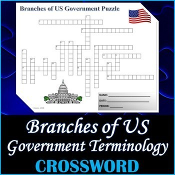 Branches of US Government Crossword Puzzle Activity Worksheet