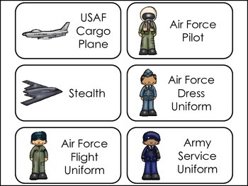 Branches of the Military themed Picture Word Flash Cards.