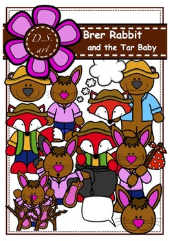 Brer Rabbit and the Tar Baby Clipart (color and black&white)