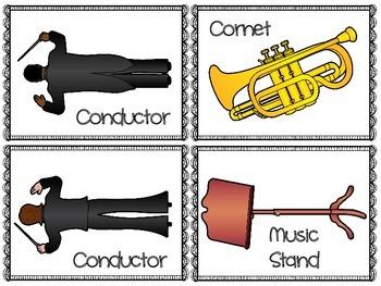 Brass Instrument Flash Cards & Matching Game