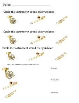 Brass Instrument Sounds Worksheet
