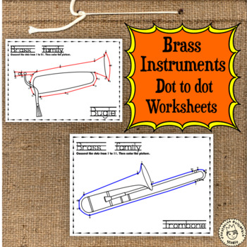 Brass Instruments Dot to dot Worksheets