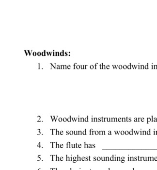 Brass and Woodwind fill-in-the-blank worksheet