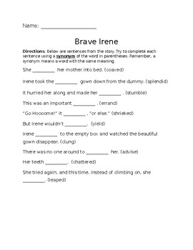 Brave Irene Vocabulary worksheet