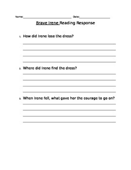 Brave Irene reading response