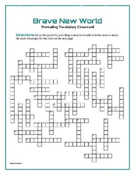 Brave New World: 50-Word Prereading Crossword—Prepares students!