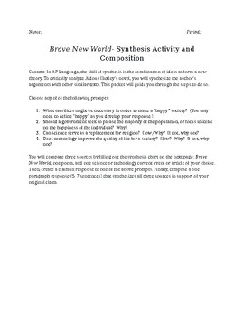 Brave New World- AP Language Synthesis Activity and Composition