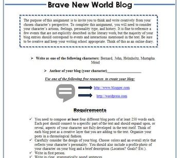 Brave New World Blog Activity-Digital Writing, Reading, & Textual Analysis