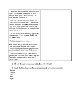 Brave New World - Chapter 1 - Social Stability and Guided Reading Activity