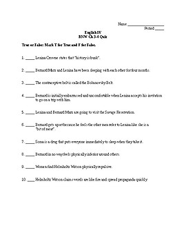 Brave New World Chapter 3 Worksheets & Teaching Resources | TpT