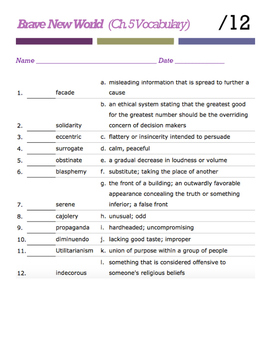Brave New World (Chapter 5 Vocabulary)
