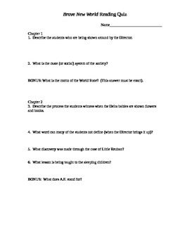 Brave New World Chapter Quizzes