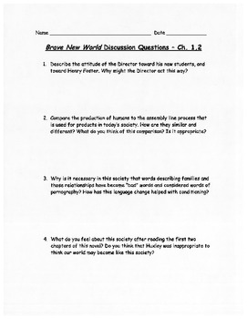 Brave New World - Discussion Questions, Quizzes, Projects