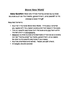 Brave New World Essay Question By Danielle Pelletier  Tpt Brave New World Essay Question