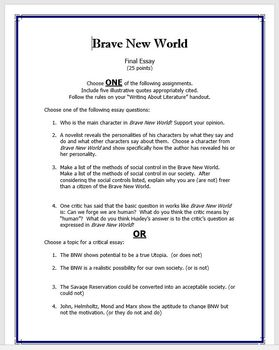 Brave New World Final Essay Prompts