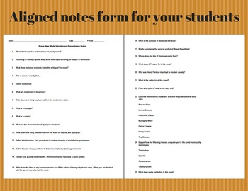 Brave New World Introductory Presentation & Note Forms