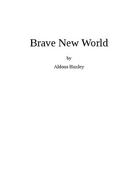 Brave New World Lesson Plan /Study Guide Level 5