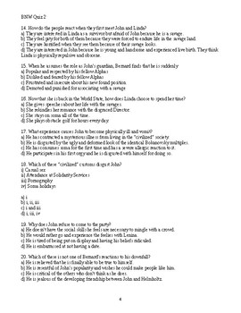 Brave New World Novel Quiz Chapters 7 to 13 Multiple Choice Answer Key Included