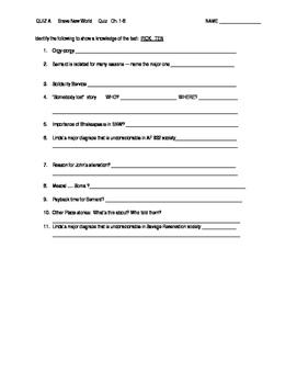 Brave New World: Quiz ch. 1-8