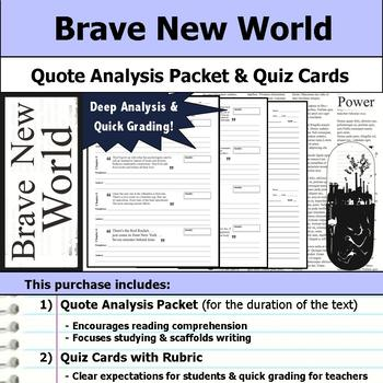Brave New World - Quote Analysis & Reading Quizzes