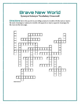 Brave New World: Synonym/Antonym Crossword—Use with Bookmarks Plus!