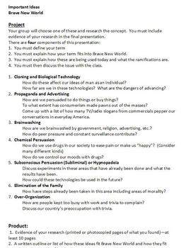 Brave New World Technology/Critical Thinking Project and Rubric