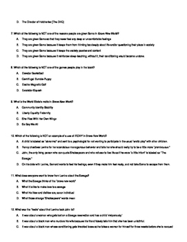 Brave New World Unit Test with Answer Key