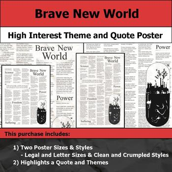 Brave New World - Visual Theme and Quote Poster for Bulletin Boards
