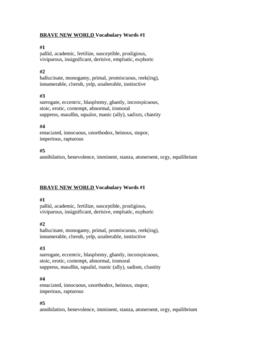 Brave New World Vocabulary List 1