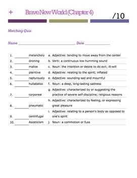 Brave New World Vocabulary Quiz (Ch. 4)