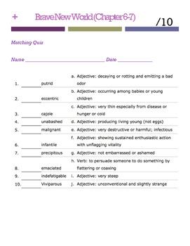 Brave New World Vocabulary Quiz (Ch. 6-7)